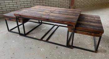 Klassiek industriële salontafelset
